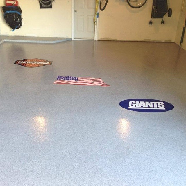 Two Car Garage Coated With Home Pro And Decals Charcoal